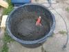 6 skovle grus og 2 skovle cement, og lidt vand