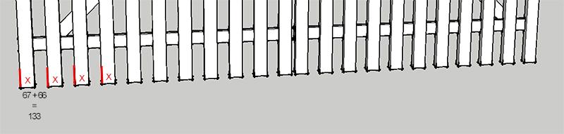Metode for præcis opmærkning af lodrette listernes placering på vandrette lister