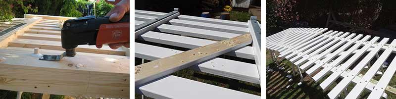 Propperne stikkes af, skråbånd monteres og havelågen deles i to stykker