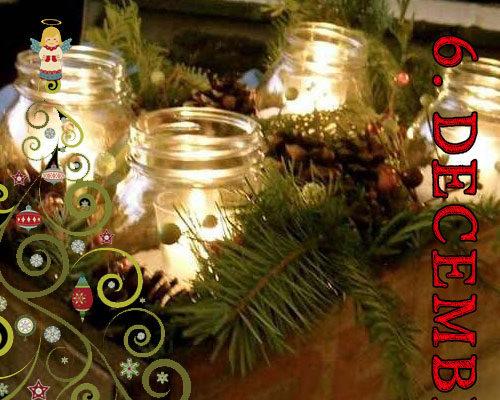 Lav en julekurv med gran og lys i rødbedeglas
