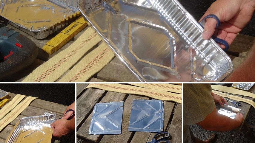 Hjemmelavet ildstav - Foliebakkerne skæres til