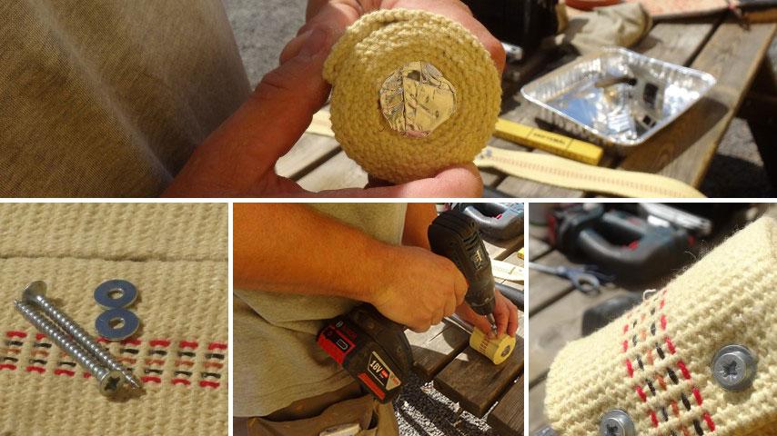 Hjemmelavet ildstav - Kevlarvægerne skrues fast i stavens ender
