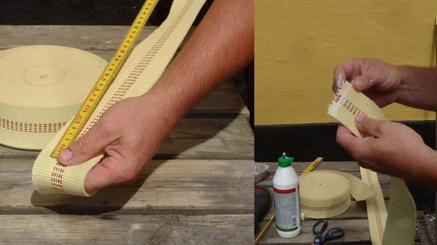 Hjemmelavet ildstav - kevlarvæge klippes til i længde, og limes i enderne