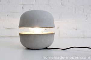 Hjemmelavet lampe i beton